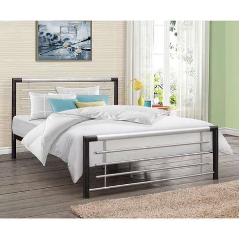 Faro Steel Single Bed In Black And Silver