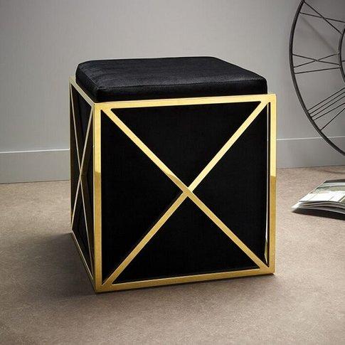 Farran Stool In Black Velvet And Gold Plated Stainle...