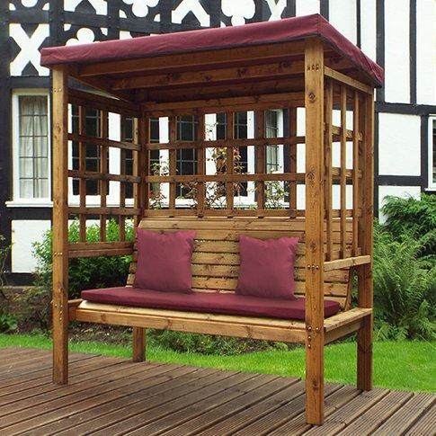 Fela Bramham 3 Seater Arbour In Burgundy