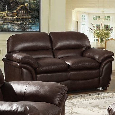 Fernando Full Bonded Leather 2 Seater Sofa In Brown