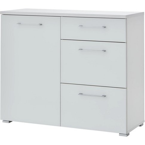 Feya Glass Chest Of Drawers In White With 3 Drawers