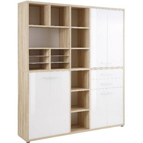 Figaro Highboard Storage Unit In Natural Oak And Whi...