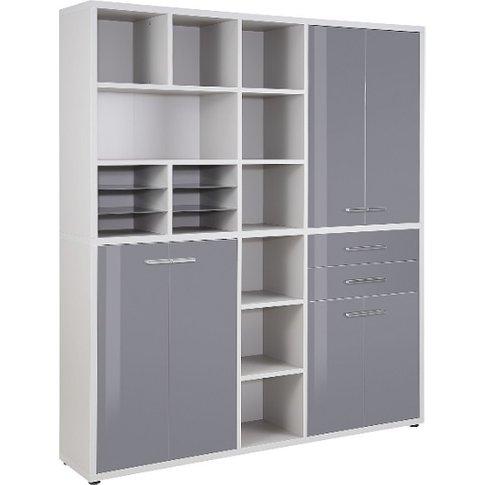 Figaro Highboard Storage Unit In Platinum Grey And G...