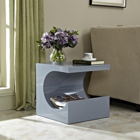 Figure Modern Side Table In Grey High Gloss
