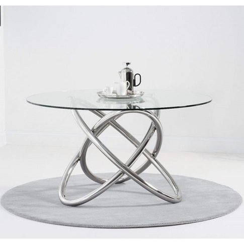 Filkins Glass Round Dining Table With Stainless Stee...
