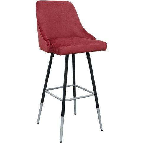 Fiona Red Fabric Bar Stool With Metal Legs