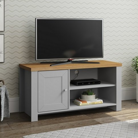 Fiona Wooden Small TV Stand In Grey And Oak With 1 Door