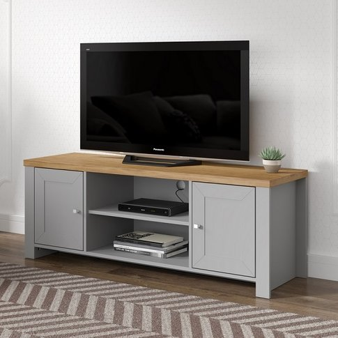 Fiona Wooden TV Stand In Grey And Oak With 2 Doors