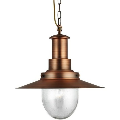 Fisherman Ceiling Light In Copper With Seeded Glass ...