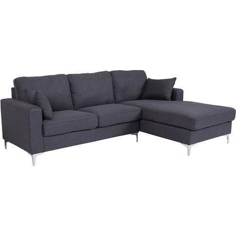 Flake Fabric Right Corner Sofa In Grey With Metal Legs