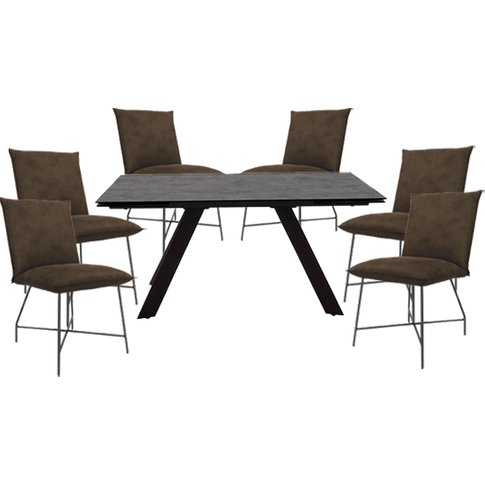 Flavia Extending Glass Dining Table With 6 Lukas Bro...