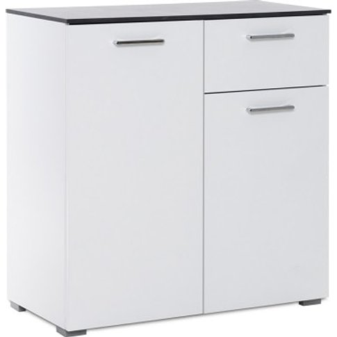 Flavio Compact Sideboard In White High Gloss And Dar...