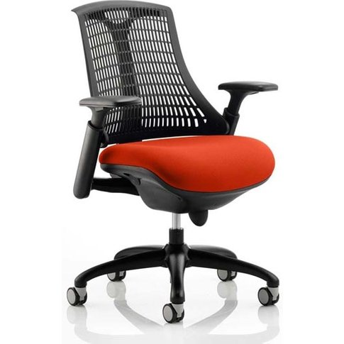 Flex Task Black Back Office Chair With Tabasco Red Seat