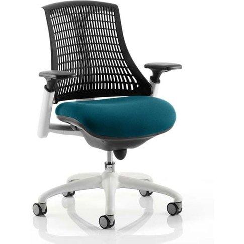 Flex Task White Frame Black Back Office Chair In Maringa Teal