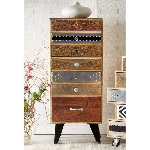 Flocons Tall Chest Of Drawers In Reclaimed Wood With...
