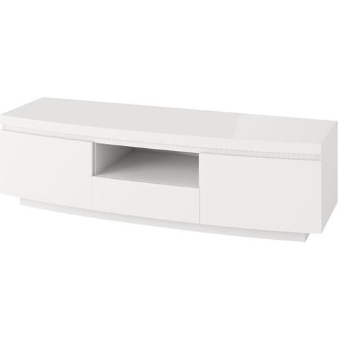 Florence Tv Stand In White High Gloss With Led Stripe