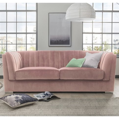 Flores Fabric 2 Seater Sofa In Pink Velvet With Chrome Legs