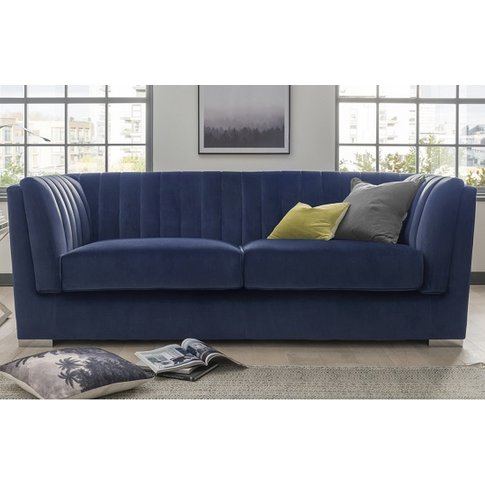 Flores Fabric 3 Seater Sofa In Blue Velvet With Chro...