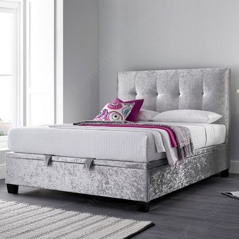 Florus Ottoman Storage Super King Bed In Crushed Sil...