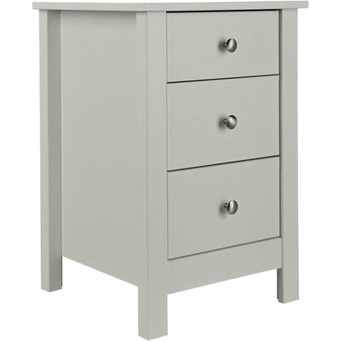 Flosteen Wooden 3 Drawers Bedside Cabinet In Soft Grey