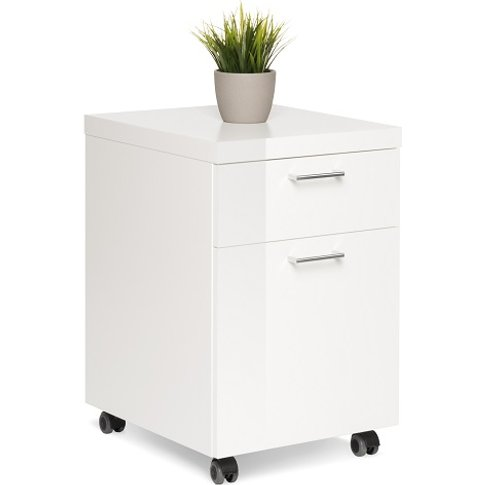 Fortis Office Cabinet In White High Gloss With Rollers