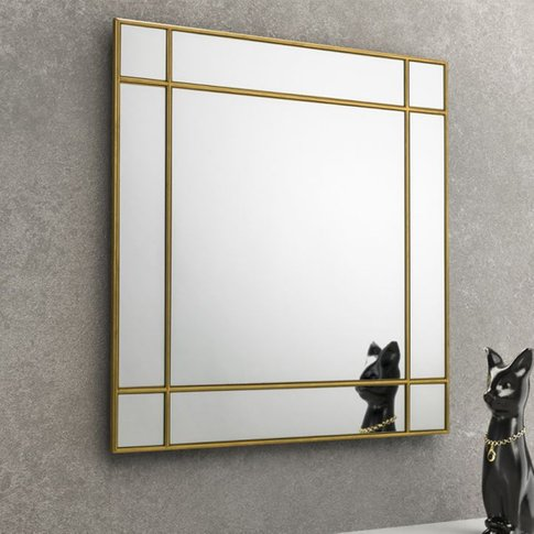 Fortissimo Square Wall Mirror With Gold Frame