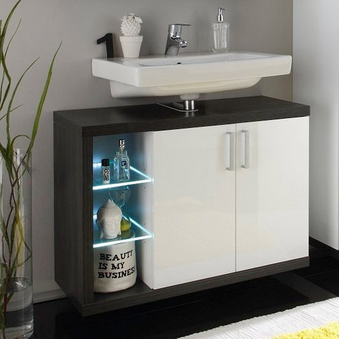 Forum Vanity Unit In Smoky Silver High Gloss Fronts ...