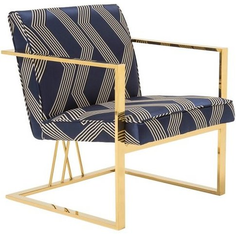 Franklin Accent Chair In Blue With Gold Plated Stain...