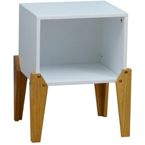 Fremont Contemporary Wooden Bedside Table In White