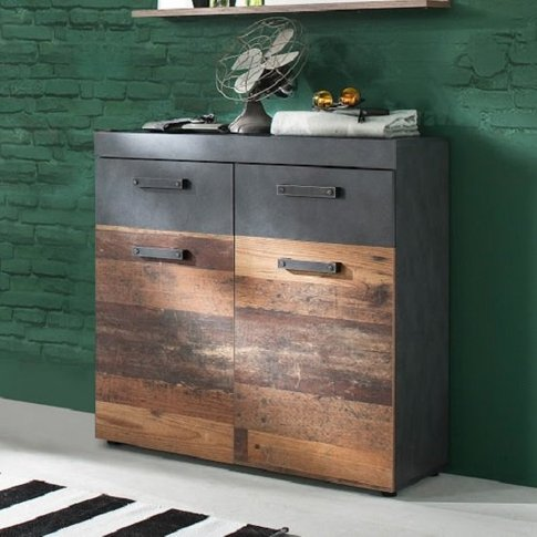 Saige Wooden Shoe Storage Cabinet In Old Wood And Gr...