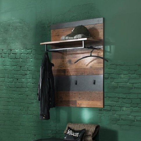 Saige Wall Mounted Coat Rack In Old Wood And Graphit...