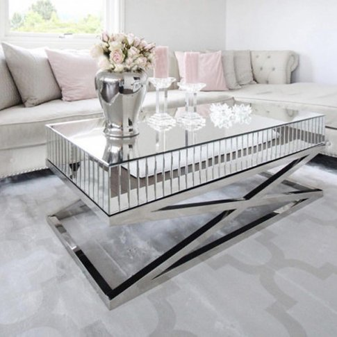 Gala Mirrored Wooden Coffee Table With Silver Steel ...