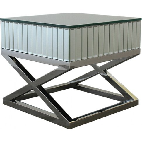 Gala Mirrored Wooden Side Table With Silver Stainles...