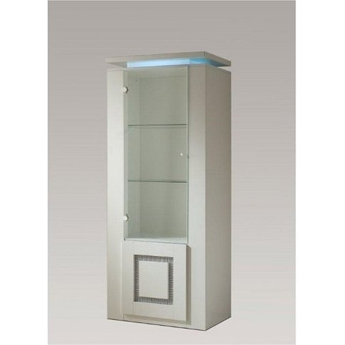Garde Display Cabinet In White Gloss With Diamante A...