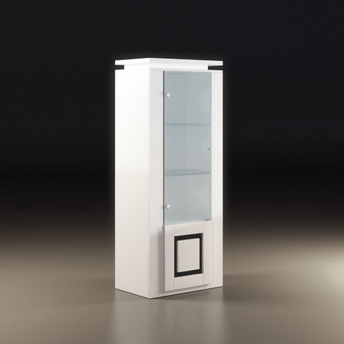 Garde Display Cabinet In White Gloss With Black And ...