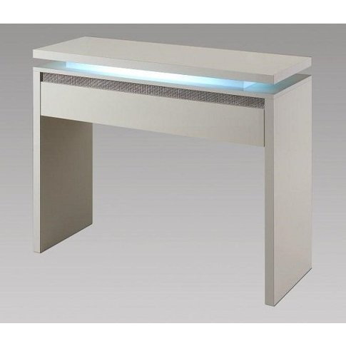 Garde Console Table In White Gloss And Diamante With...