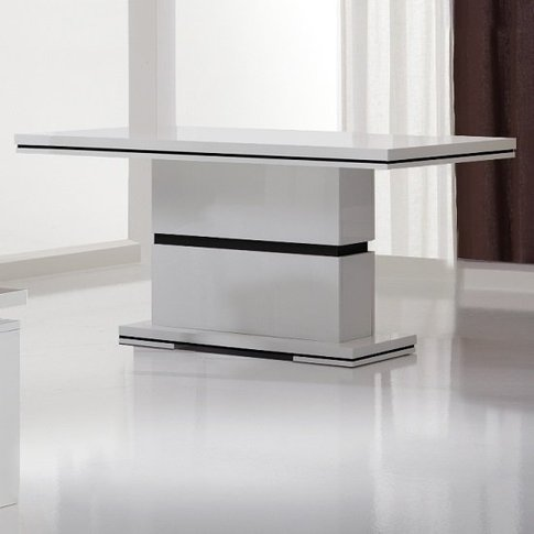 Garde Dining Table In White Gloss And Black Design