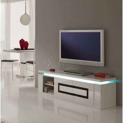 Garde Tv Stand In White Gloss And Black With Lights