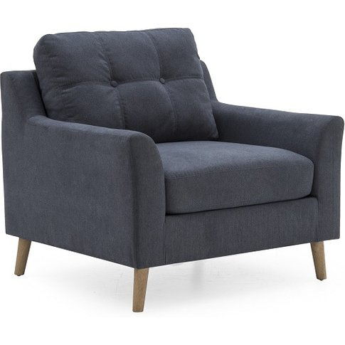 Garrick Fabric Sofa Chair In Charcoal With Wooden Legs