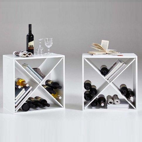 Garrison Set Of 2 White Side Table Or Shelf With 4 C...