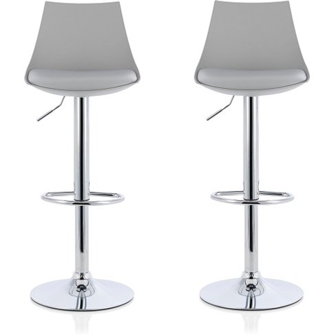 Garry Bar Stools In Grey Faux Leather Seat Pad In A ...
