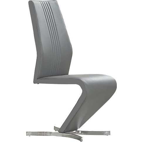 Gia Dining Chair In Grey Faux Leather With Chrome Base