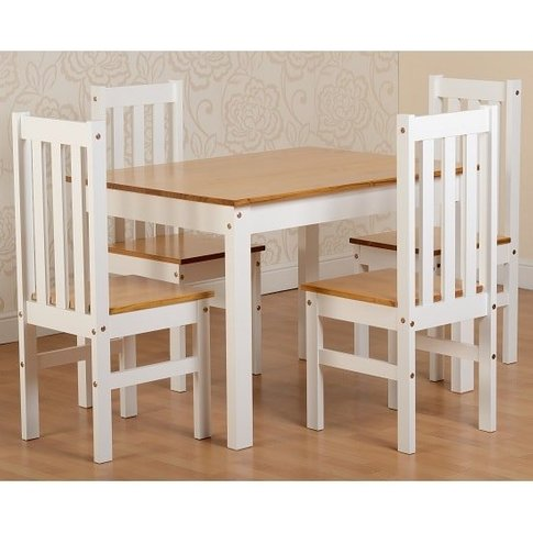 Gibson 4 Seater Wooden Dining Table Set In White And...