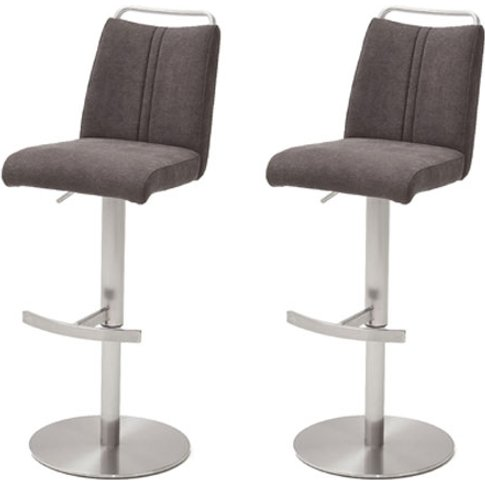 Giulia Brown Fabric Bar Stool With Steel Base In Pair