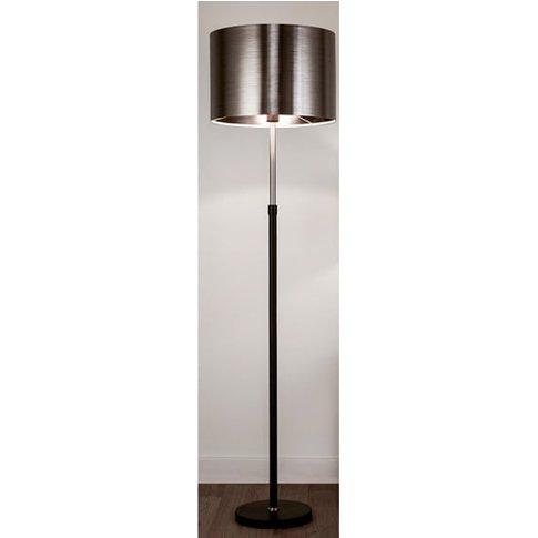 Grafias Chrome Shade Floor Lamp With Brushed Black