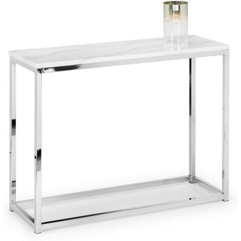 Angeles Gloss White Marble Effect Rectangular Consol...
