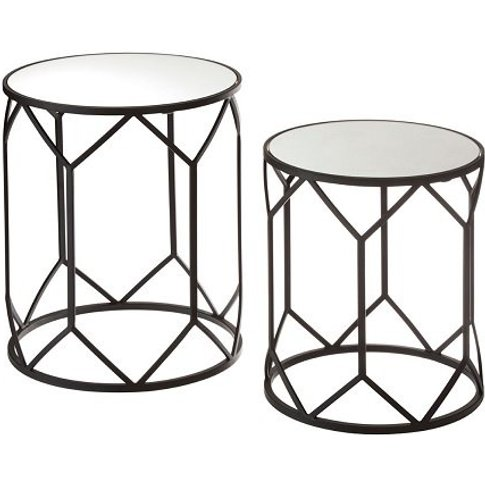 Greven Mirror Tops Side Tables Round In Black Steel ...