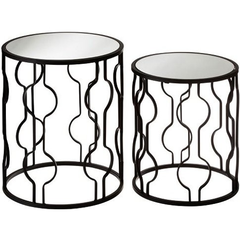 Greven Mirror Top Set Of 2 Side Tables With Black St...
