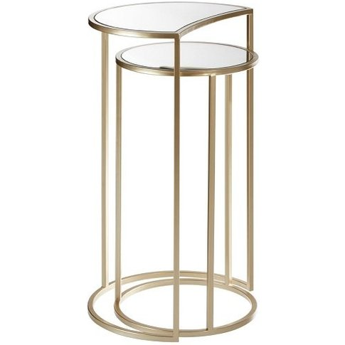 Greven Mirror Top Set Of 2 Side Tables In Champagne ...