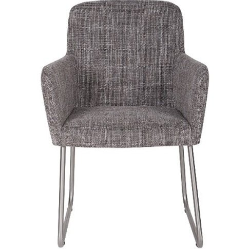 Elsa Dining Armchair Grey Fabric With Silver Frame